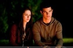 Bella and Jacob by the bonfire