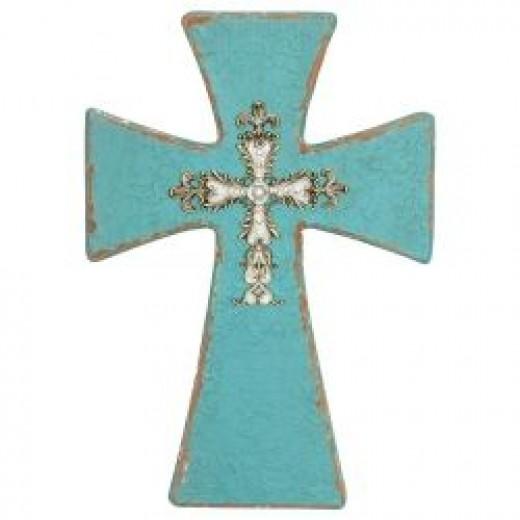 Turquoise Cross Wall Hanging - Comfort