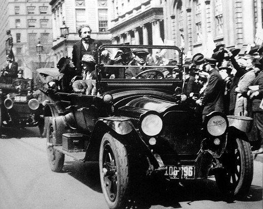 Albert Einstein in 1921, as he rode in a motorcade in New York City with crowds welcoming his first visit to the U.S.