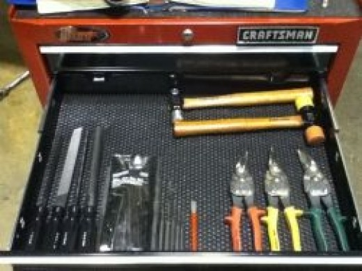 Hammers, Files, Punches, Chisels, Sheet Metal Snips, and Hex Key Set (Allen Wrench Set)