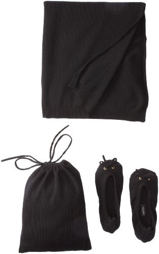 Sofie Women's Slipper Pouch Travel Shawl Set (Black)