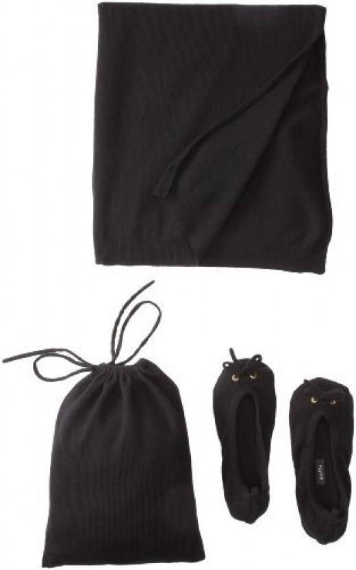 Sofie Women's Slipper Pouch Travel Shawl Set (Black)
