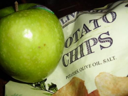 Olive oil potato chips: not so high in salt!