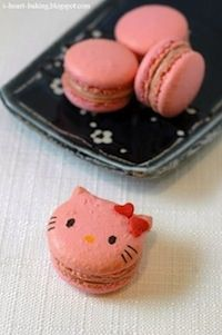 Rhubarb Hello Kitty Macarons by i-heart-baking