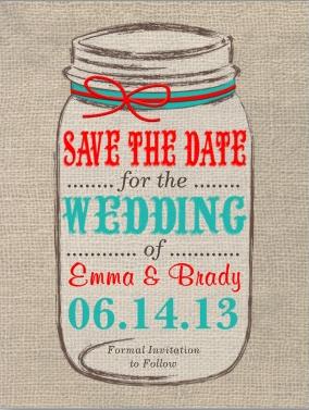 Burlap and Mason Jar Rustic Wedding Invitation