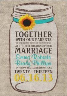 Sunflower & Mason Jar Invitation