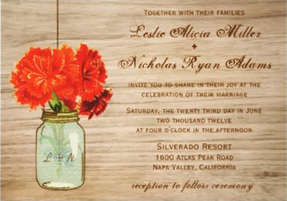 Mason Jar Country Wedding Invitation