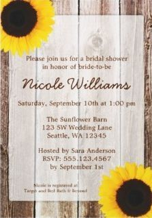 Sunflower & Wood Wedding Invitation