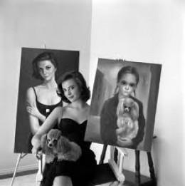 Actress Natalie Wood and her Margaret Keane originals