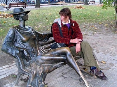 He wondered why he was admiring a strange lady on an L.A. park bench.