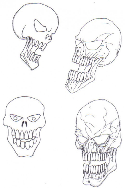 More examples of skull art, the more you draw skulls the different sorts of skulls you'll be able to draw.