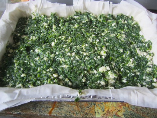 Be sure to get spinach and feta mixture into corners