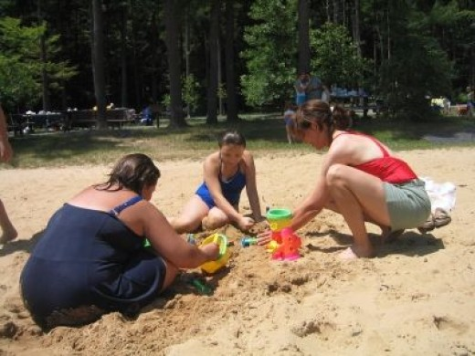 Never too old to play in the sand!
