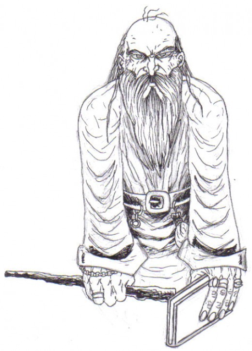 The wizard black ink line drawing.