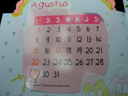 The calendar of my birthday. She didn't miss to write my name on the date.