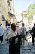 A Muslim man selling rosaries on the Via Dolorosa at St. Stephen's Gate in the Muslim corner of the Old City of Jerusalem.