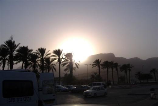 Sunset at Ein Geidi.