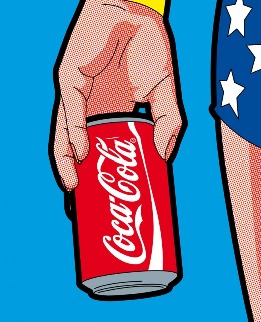 Wonderwoman holding a Coca-Cola can.