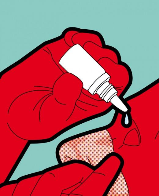 Daredevil using eye drops.