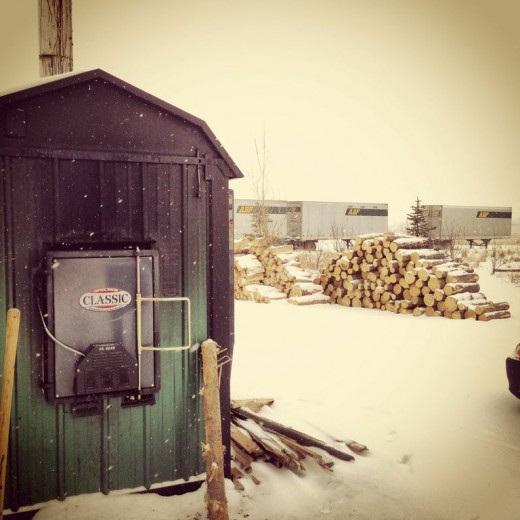 We use a wood burning boiler to supplement heat in the winter.