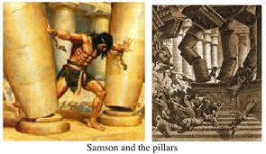 Samson showing the awesome power of the Lord.