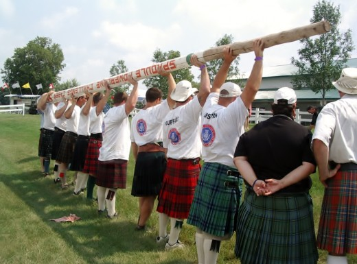 Preparing to toss the caber