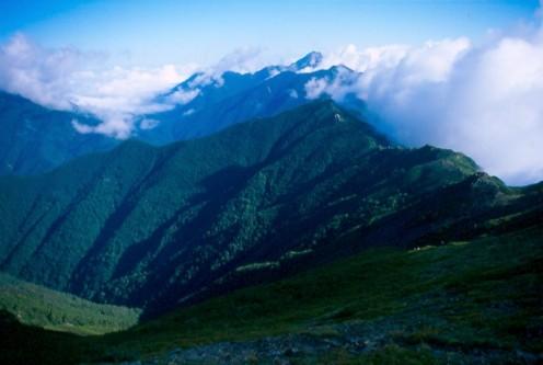 Looking north from the slopes of Kita dake, Minami Alps, Japan.