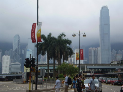 Victoria's fog-bound skyline as seen from Kowloon, July 30, 2008.