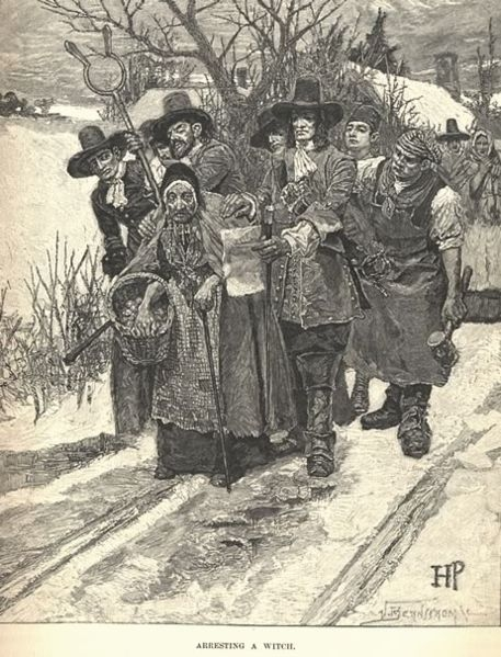 Taking a witch, 1893. This picture illustrates the arresting of a witch. Notice how many men it took to arrest one old woman. This is an example of Rebbecca Nurse