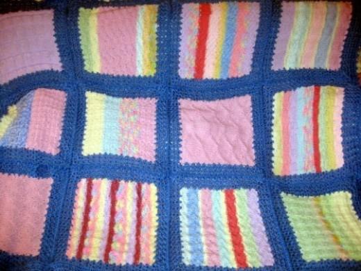 Blue-framed Knitted Patchwork Rug