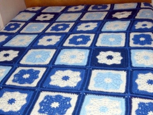 Blue and Cream Bedspread
