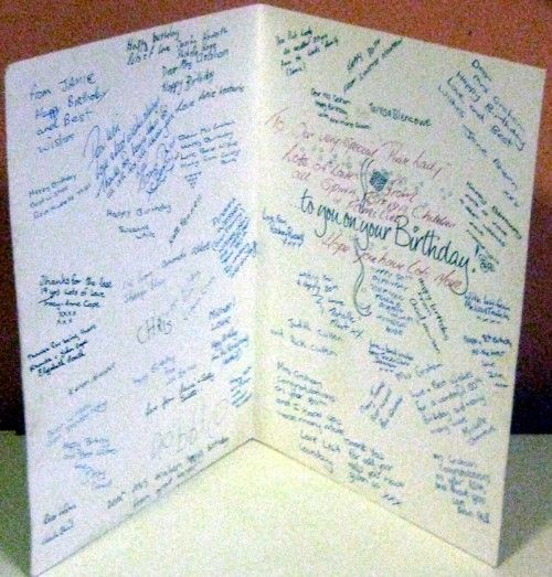 Just some of her 'kids' messages in her giant card