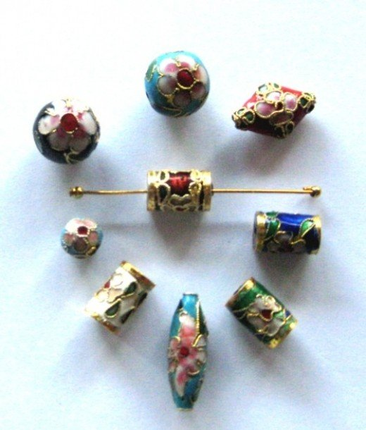 And these are SO special - 'Cloisonne' beads with their flowers and gold embossed on the beads.  Oh-h-h!