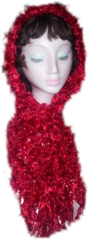 This scarf for neck or head, was created using Red 'Feathers' yarn, and is 20cm wide x 190 cm total length, including Red & Silver beading, and 17cm fringing each end. (Code 2a)