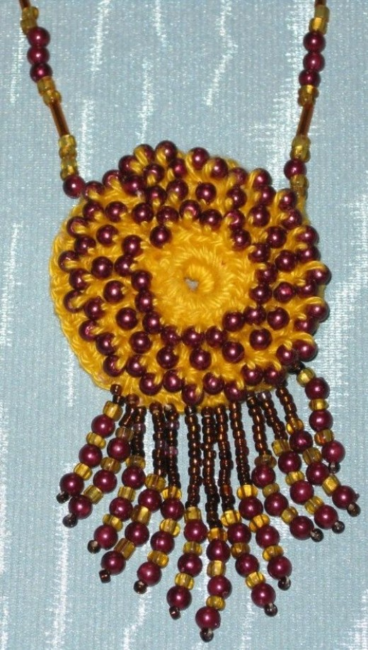'Sunburst' Necklace - uh-oh - another crocheted delight!Don't stop now...why not go visit my Madeit Shop?