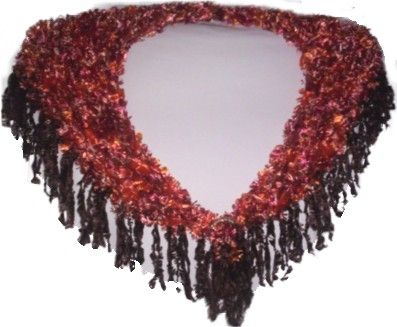 "A triangular shawl hand-knitted in Autumn Rust 'Feathers' yarn with Dark Brown 'Feathers' fringing (9cm/3.5"" long), up to 90cm (35"") maximum width around shoulders x 30cm (12"") maximum depth at back point, and  clasp covered with crocheted sparkly go"