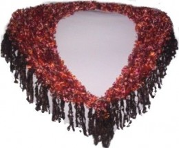 """A triangular shawl hand-knitted in Autumn Rust 'Feathers' yarn with Dark Brown 'Feathers' fringing (9cm/3.5"""" long), up to 90cm (35"""") maximum width around shoulders x 30cm (12"""") maximum depth at back point, and  clasp covered with crocheted sparkly go"""