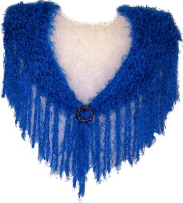 This shawl is made of Deep Blue fluffy yarn,  up to 110cm wide (around shoulders) x 45cm max. depth, including 18cm Deep Blue fringing, and sparkly crochet covered scarf clasp. Price $40.00  (Code 7c)