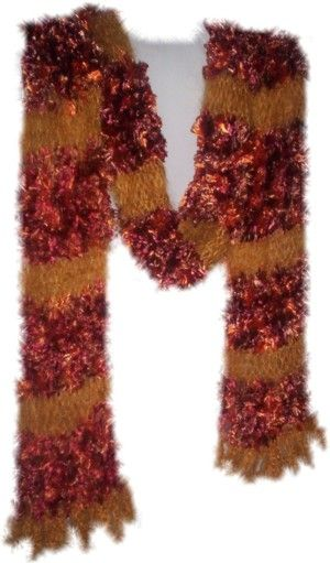 A head or neck scarf created using Rust 'Feathers' and Gold Mohair stripes, it's 15cm wide x 170cm total length, including 5cm deep crocheted Gold mohair loops each end.  (Code 4a)