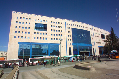 Jerusalem Central Bus Station.  Known for the clock in the center of the building