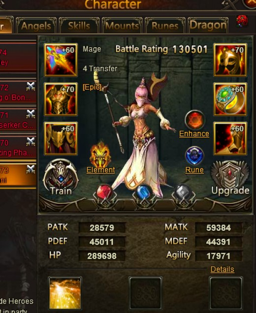 Djinni Mage- Ranged Support (Healer) Party recovers HP equal to 75%.