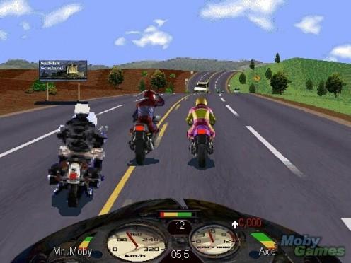 Road Rash is a motorcycle racing game.