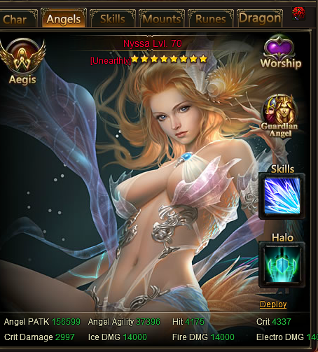 This is my current angel. She is evolved to 8 stars which is unearthly (9 stars would be ungodly which is the strongest in evolve) Her max level is 70.