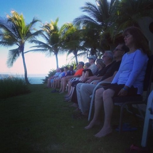 Ocotal Beach Resort, sitting on the lawn watching the sun rise during morning meditation with a group of fellow travelers.  Gorgeous.  Resort was a bit run down, but the views make up for everything and the staff, super nice.