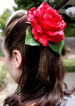 Hair flowers compliment any hair style.