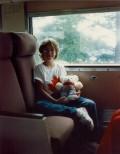 My niece inside the rail car...