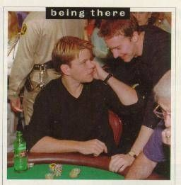 Matt Damon and Ed Norton having fun at the 1998 World Series of Poker.