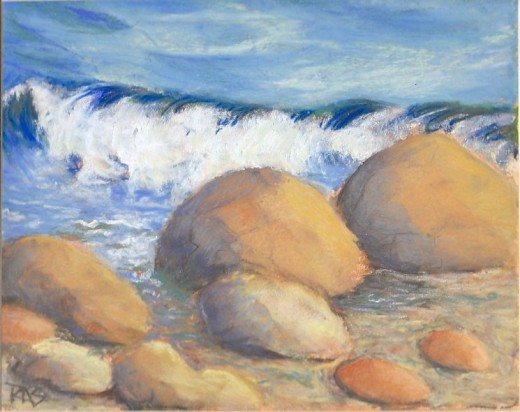 "Waves and Rocks, 8"" x 10"" in soft pastels on watercolor paper primed with Colourfix clear sanded primer, by Robert A. Sloan."