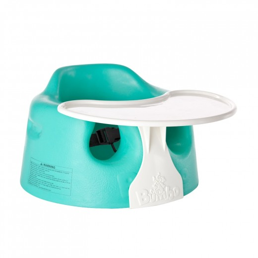 The Bumbo Seat is sold without the tray or with it. You decide which is best.  When baby is using the seat be sure to fasten the safety belt.