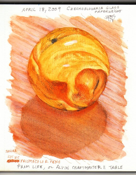 Orange glass paperweight from life in pen & watercolor from my watercolor journal, by Robert A. Sloan